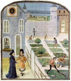 mikasavela:    A farming scene from a 15th century Flemish copy of a 14th century Italian manuscript Treatise on Rural Economy by Pietro de Crezcenzi. With all the contemporary urban agriculture projects, it's actually funny to remember that cities and food production have had a long relationship, since like… forever.