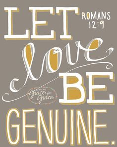 Bible Verse Art-  Let Love Be Genuine - 8x10 Giclee Print - Scripture Art, Wedding, Taupe, Gray, Grey, Mustard, Home Decor. $18.00, via Etsy.