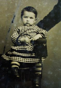 Antique Tintype Photo Cute Little Boy in Plaid Dress Hidden Mothers Arm on Right | eBay