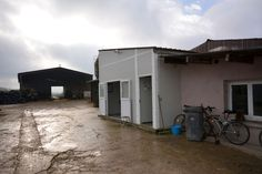 Milk parlour extension with prefabricated building side view