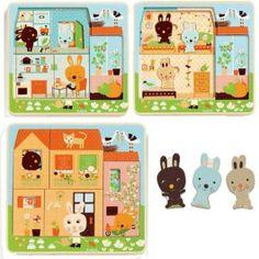 djeco drie lagen puzzel het konijnenhuis (3x4 st) DJ01480 | ilovespeelgoed.nl