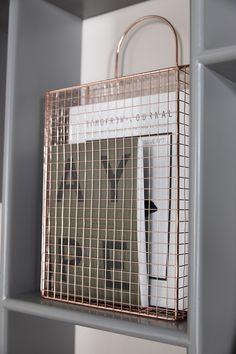 Rose Gold/Copper wire storage holder. Magazine basket.
