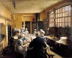 """athousandwinds: """" An Old Inn Kitchen, oil on canvas by Frederick William Elwell, British, Elwell's work centered on people at work or play. For those of you who enjoyed Downton. Aberdeen Art Gallery, Frederick William, Walker Art, English Artists, Paintings I Love, Art Uk, Women In History, Oil On Canvas, Art Photography"""