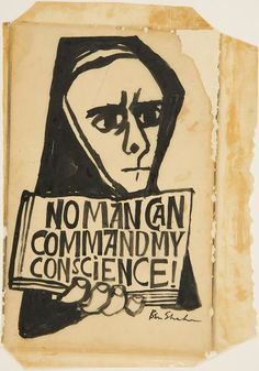 Ben Shahn, No Man Can Command My Conscience, 1968  Drawing  Black ink on tracing paper