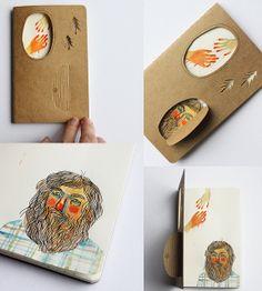 Altered Moleskine journal based on the folktale 'King Grisly-Beard' by the Brothers Grimm Art Zine, Handmade Books, Art Journal Inspiration, Art Plastique, Book Making, Bookbinding, Art Sketchbook, Book Illustration, Book Design