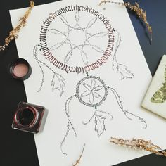 Dreamcatcher plaited of letters. Natural pallette! #dreamcatcher #calligraphy