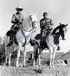 The Lone Ranger and Tonto with horses Silver and Scout