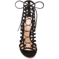Gianvito Rossi Lace Up Suede Heels ($1,798) ❤ liked on Polyvore featuring shoes, pumps, heels, black laced shoes, black lace up shoes, kohl shoes, heels & pumps and gianvito rossi pumps
