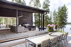 Box House with Timber Porch . Box House with Timber Porch . Outside Living, Outdoor Living, Norway House, Tiny House, Summer Cabins, Lakeside Cottage, Box Houses, Outdoor Spaces, Outdoor Decor