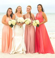 """Ombre Bridesmaids Gowns - Full, fabulous, flowing """"Infinity"""" style gowns available in hundreds of colors"""