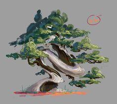 by Rikard Röhr on ArtStation. Landscape Concept, Fantasy Landscape, Fantasy Art, Environment Concept Art, Environment Design, Alien Plants, Concept Art Tutorial, Bonsai Art, Plant Illustration