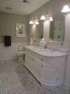 pretty benjamin moore revere pewter bathroom. My Master Bath remodel  basketweave carrara marble tile floor vanity base Benjamin Moore Revere Pewter wall color A favorite among