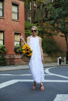 White maxi dress for a hot day