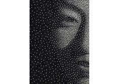 Working with just a wood panel, brad nails and a single sewing thread Kumi Yamashita has created beautiful multi-dimensional portraits. Love Art, All Art, Kumi Yamashita, String Art, Wood Paneling, Artsy, Gallery, Brad Nails, Illustration