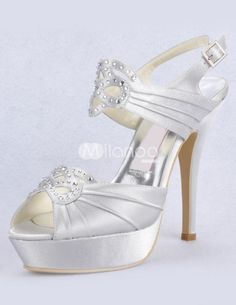 Silver Sling Back Peep Toe Satin Bridal Wedding Sandals Cute Wedding Dress, Fall Wedding Dresses, Colored Wedding Dresses, Dream Wedding, Wedding Things, Wedding Gowns, Satin Wedding Shoes, Wedding Shoes Online, Ivory Wedding