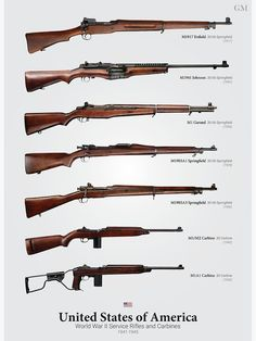 'World War II Service Rifles of the United States' Poster by nothinguntried Military Weapons, Military Art, Military History, Rifles, Ww2 Weapons, Battle Rifle, Weapon Concept Art, Hunting Guns, Cool Guns
