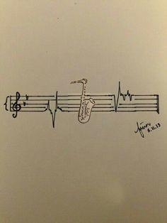 Sax-heartbeat tattoo