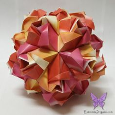 Little Roses Kusudama by Sarah. 30 Papers. Extreme Origami.