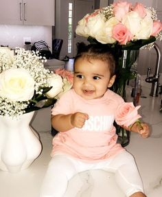 Words alone won't describe completely her princess Kardashian blood is looking vibrant as she shares a beautiful sm. Lil Baby, My Baby Girl, Baby Kids, Beautiful Black Babies, Beautiful Children, Future Daughter, Future Baby, Daughters, Sons