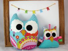 Plush Owl Softie Baby Toy Small Owl Pillow Turquoise, Red, Pink, Purple Minky. $14.00, via Etsy.