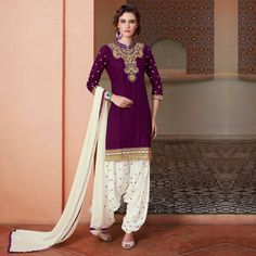 Buy Purple Pure Cotton Patiala Suit for womens online India, Best Prices, Reviews - Peachmode