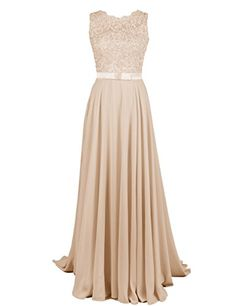 Long Chiffon Lace Evening Formal Party Ball Gown Prom Bridesmaid Dress Size 16 for sale online Ball Gowns Evening, Ball Gowns Prom, Party Gowns, Evening Dresses, Prom Dresses, Prom Party, Party Wedding, Wedding Ideas, Champagne Bridesmaid Dresses