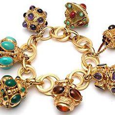 Vintage Estate 7 Large Charm Gemstone Bracelet Solid 18k Yellow Gold
