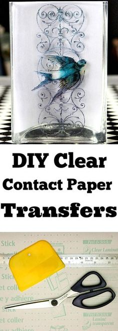 DIY Clear Contact Paper Transfers!  This is such a fun Technique for transferring images, or photos, onto glass. Perfect for DIY Home Decor and Crafts Projects. A must try for sure!!