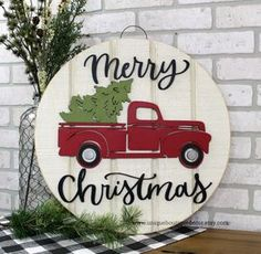 Merry Christmas Door Hanger, Red Truck with Tree sign, Wood door hanger, Farmhouse Christmas Decor, Christmas Projects, Christmas Diy, Christmas Crafts, Christmas Ornaments, White Christmas, Merry Christmas, Christmas Jokes, Christmas Lights, Christmas Tree Decorations To Make