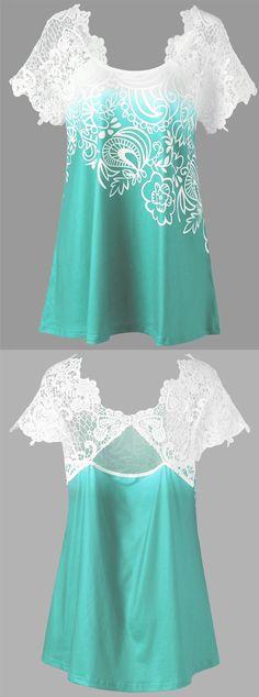 Plus Size Raglan Sleeve Lace Panel Floral Top