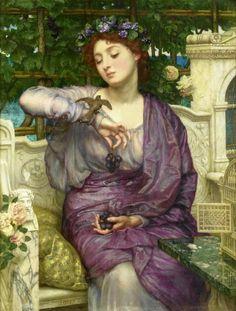 Sir Edward John Poynter 1836-1919 Lesbia and her sparrow