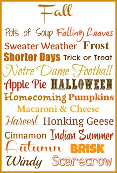 Fall ~ 20 Little Things I Love Free Printable