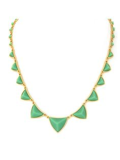 $75 House of Harlow 1960 Pyramid Station Necklace with Mint Green Resin