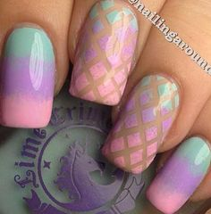 Blue pink purple nude