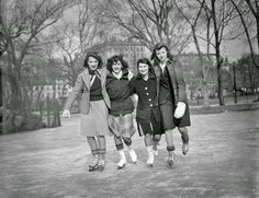 a group of girls goes ice skating   1940   #vintage #1940s #fashion