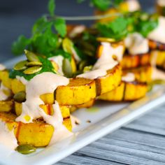 Roasted Squash with Yogurt Cilantro Sauce