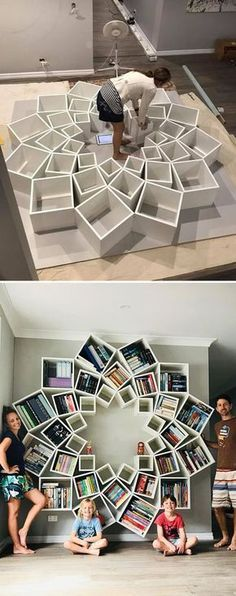 The best DIY projects & DIY ideas and tutorials: sewing, paper craft, DIY. Best DIY Furniture & Shelf Ideas 2017 / 2018 With so many projects being DIY fails, this family has found a win with this -Read Creative Bookshelves, Bookshelf Design, Bookshelf Ideas, Diy Bookcases, Home Projects, Design Projects, Diy Design, Design Trends, Wall Design