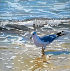 seagull on the beach, painting by artist Ria Hills