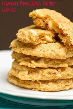 Hawaiian Macadamia Butter Cookies ~ Whole grain roasted macadamia butter cookies with banana, coconut and white chocolate