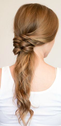 Faux Braided Ponytail hair tutorial | 4 Easy heatless hairstyles for long hair that don't require hairstyling skills or braiding! Learn how to create a faux braided ponytail, messy faux fishtail braid, twisted half-up, and messy braided bun in these easy hair tutorial by Orlando, Florida beauty blogger Ashley Brooke Nicholas! #MyHCLook sponsored by @haircuttery ! | easy hairstyles, no-heat hairstyle, faux braids, faux braid tutorial, how to braid your hair, messy bun, fishtail braid, long di