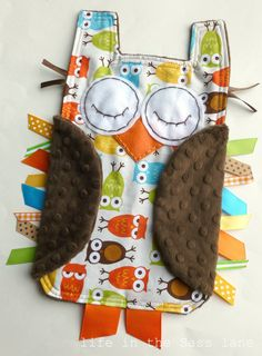 Urban Zoologie Owls Ribbon Tag Baby Blanket and Chocolate Brown Minky Blankie Lovey Lovie Baby Gift