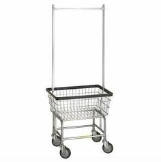 """Standard Laundry Cart w/ Double Pole Rail by R B Wire Products Inc. $155.00. Heavy-duty laundry baskets for easy laundry collection in large facilities. The Standard Laundry Cart has a 2 1/2 Bushel Capacity and is the standard of the industry built for years of service. This laundry cart is used by the majority of America's coin laundries, on-premise and commercial laundries. Comes standard with chrome basket & base. This unit is equipped with R's proprietary 5"""" Clean Wheel ..."""