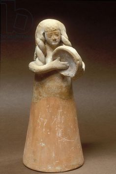"""mini-girlz: """" Figurine of a female tambourine player, from Shikmona on the northern coast of Israel century BC Phoenician Syrian ceramic Credit: Figurine of a female tambourine player, from. Sculpture Clay, Sculptures, Ancient Music, Frame Drum, Drums Art, Ancient Goddesses, Ancient Buildings, Tambourine, Greek Art"""