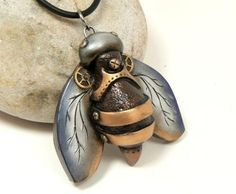 Bee Jewelry Steampunk Style Pendant Industrial by DesertRubble