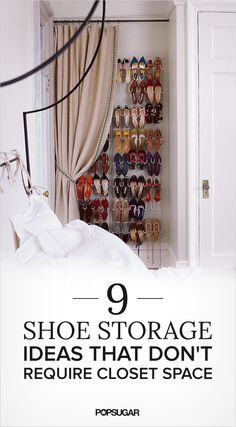 9 Shoe Storage Ideas That Don't Require Closet Space Hang a shoe rack and a curtain for a makeshift shoe closet - Aufbewahrung Closet Space, Shoe Closet, Casa Feng Shui, Diy Shoe Rack, Wall Shoe Rack, Diy Rangement, Cheap Storage, Creative Storage, Laundry Room Organization