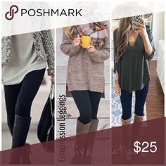 """New Compression Leggings High Waist Compression perfect pair of  leggings Size: One size fits most , all sizes are """"One size fits most"""". Content: 55% viscose, 40% polyester, 5% spandex Measurements: 36 1/2 inches inseam: 25 inches waist: 9 inches hip1: 13 1/2 inch rise: 13 inch rise of waistband: 7 inch compression leggings with extremely good high waist tummy control . Best selling style . French terry lined Nwt one size fits all will fit size small through 14. Price is firm unless bundled…"""