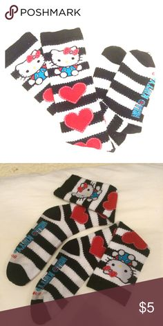 BOGO! Hello Kitty hearts n stripes girls' hi socks What else is there to say? Just adorable! Except these also would fit a small adult foot, up to 6.5. Same design both sides Accessories Socks & Tights