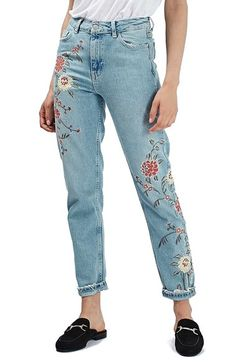Free shipping and returns on Topshop 'Mom' Floral Embroidered Jeans (Regular & Petite) at Nordstrom.com. Floral embroidery adds to the feminine appeal of on-trend 'mom' jeans cut with a high waist and tapered legs.