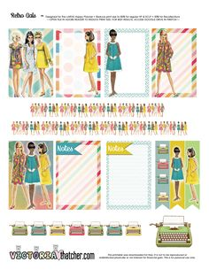 Free Printable Retro Gals Planner Stickers from Victoria Thatcher Free Planner, Planner Pages, Happy Planner, Victoria Thatcher, Reset Girl, Planner Layout, Planner Ideas, Bujo, Planner Organization
