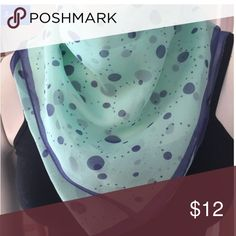 Teal and Blue Polka Dot Silk Neckerchief Polka dots and silk make this little neckerchief the daintiest addition to any springtime outfit. This is a new boutique item so price is firm.  100% Silk.  Hand wash cold and gentle. Do not bleach. Dry flat.  Made in China.  Dimensions: 19 1/2″ square. Accessories Scarves & Wraps